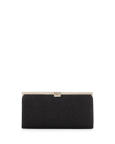 Camille Metallic Frame Clutch Bag, Black