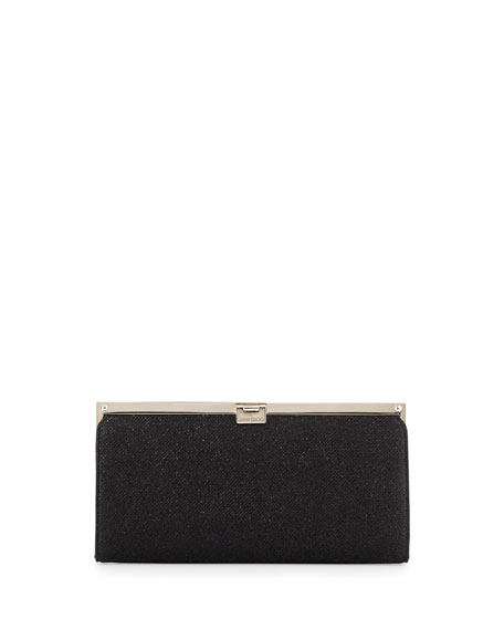 Camille Metallic Frame Clutch Bag, Black