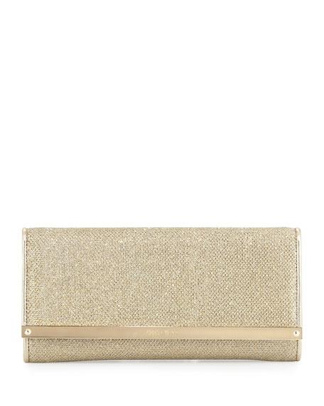 Jimmy Choo Milla Large Glitter Clutch Bag, Gold