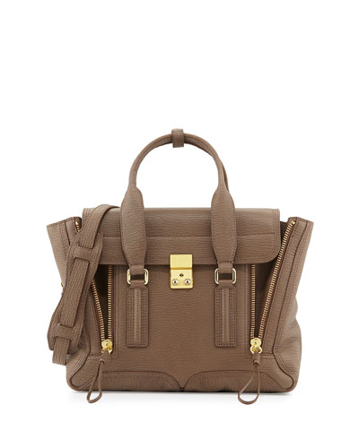 Pashli Medium Zip Satchel Bag, Taupe