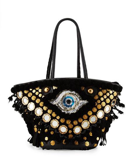 Figue Tuk Tuk Medium Evil-Eye Tote Bag, Black