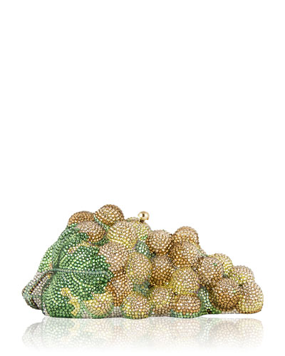 Grape Cluster Crystal Clutch Bag, Champagne Multi