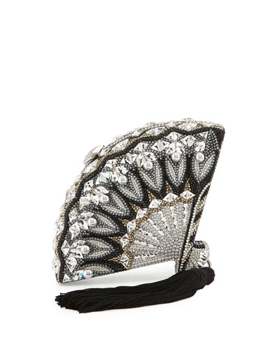 Fan Crystal Clutch Bag, Black Silver Jet