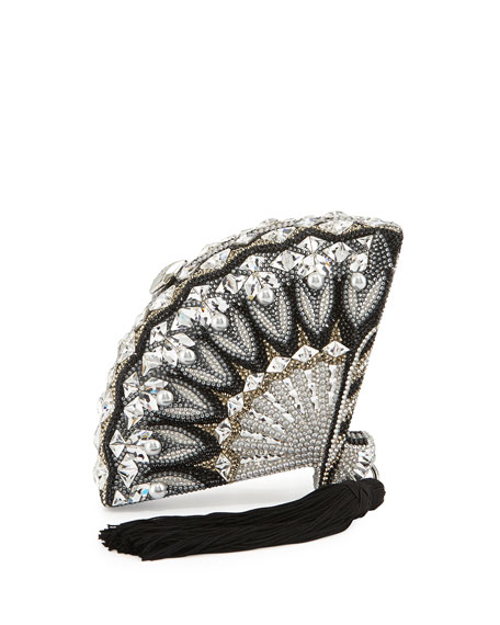 Judith Leiber Couture Fan Crystal Clutch Bag, Black