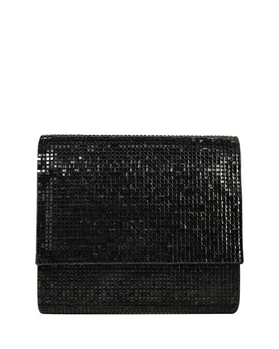 Soho Square-Beaded Crossbody Bag, Jet Black