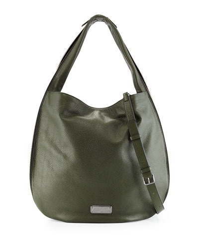New Q Zippers Huge Hillier Hobo Bag, Spanish Moss