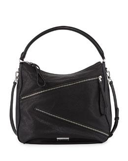 Serpentine Goat Leather Hobo Bag, Black