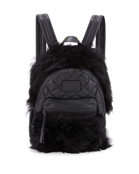 MARC by Marc Jacobs Domo Fur-Trim Leather Biker Backpack, Black