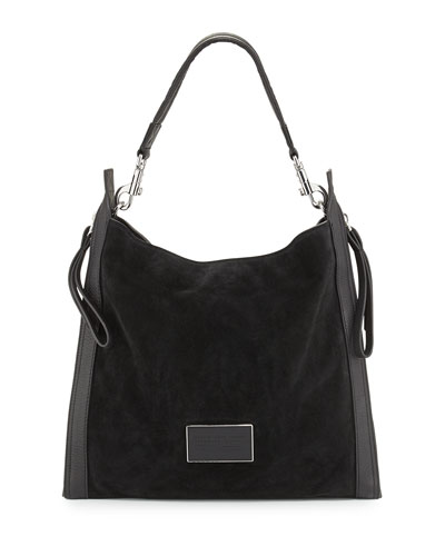 Zip That Suede Hobo Bag, Black
