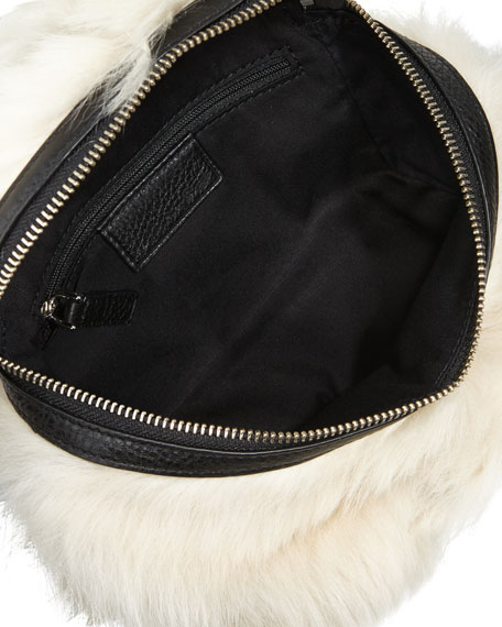 Canteen Shearling Fur & Leather Crossbody Bag, Black/Multi