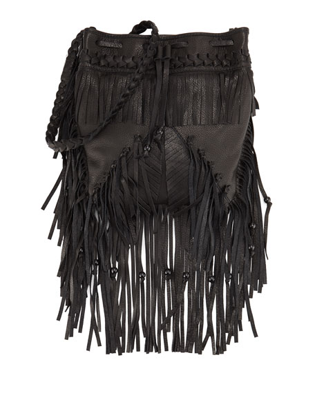 Janis Fringe Leather Drawstring Bag, Black