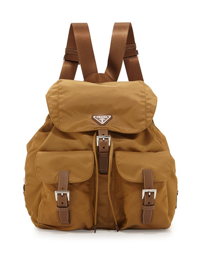 Vela Large Two-Pocket Backpack, Tobacco