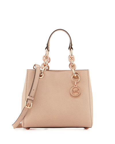 Cynthia Small Saffiano Satchel Bag, Blush