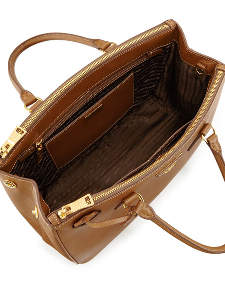 Saffiano Small Double-Handle Tote Bag, Beige (Cannela)
