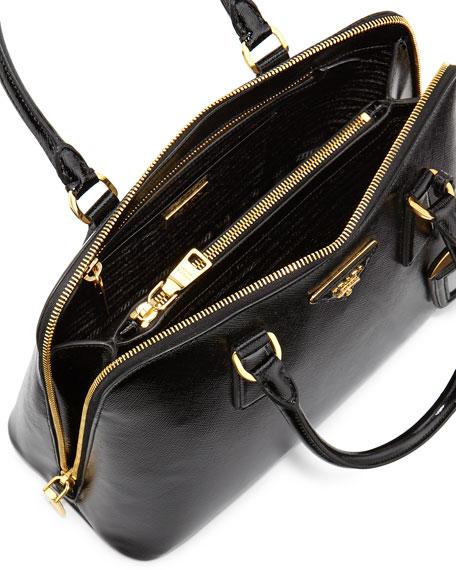 Saffiano Double-Handle Small Trapezoid Tote Bag, Black (Nero)