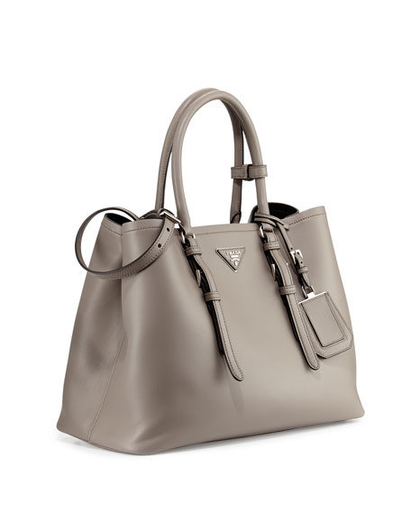 Calf Leather Large Double Tote Bag, Clay (Argillo)