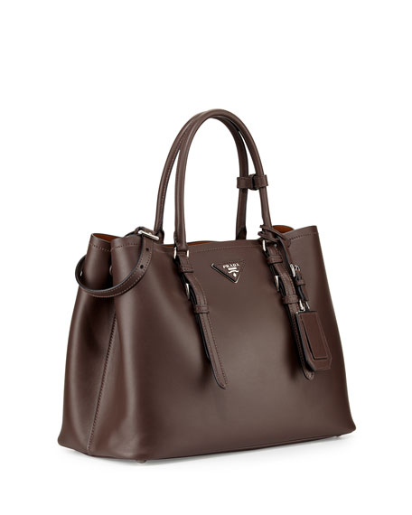prada leather bag - Prada Large Leather Double Tote Bag, Dark Brown (Cocoa)
