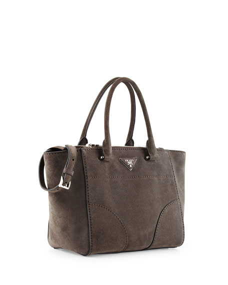 Prada Suede Small Twin-Pocket Tote Bag, Gray (Cener)