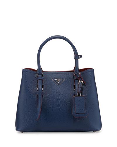 Small East-West Saffiano Tote Bag, Bluett