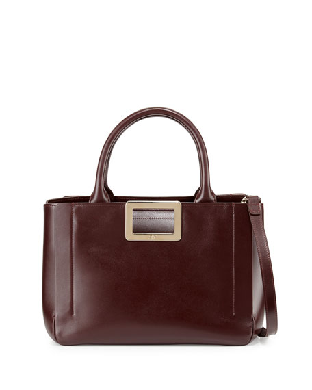 Roger Vivier Ines East-West Small Tote Bag, Bordeaux