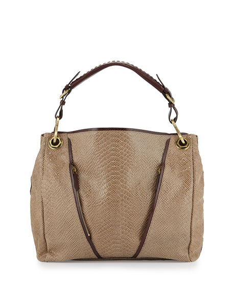 Bette Embossed-Leather Tote Bag, Almond