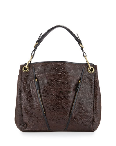 Bette Embossed-Leather Tote Bag, Espresso