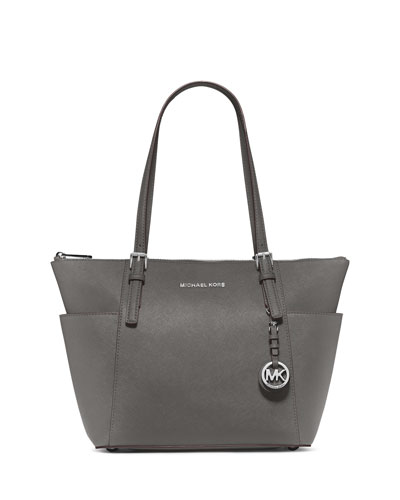 Jet Set East-West Top-Zip Saffiano Tote Bag, Steel Gray