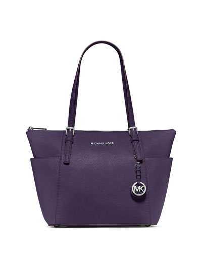 Jet Set East-West Top-Zip Saffiano Tote Bag, Iris
