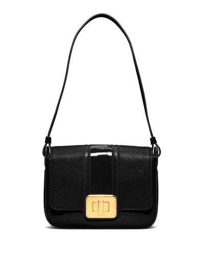 Lila Large Flap Shoulder Bag, Black