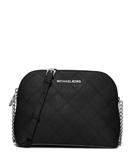Cindy Large Dome Quilted Saffiano Crossbody Bag Black