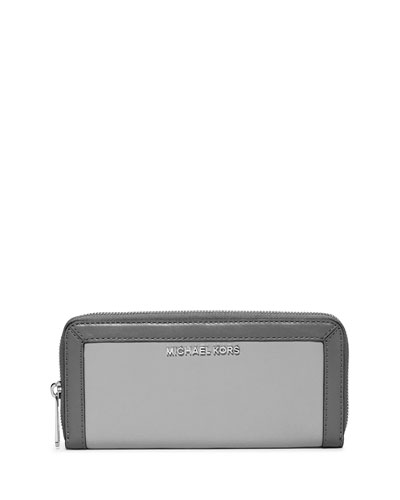 Jet Set Frame Out Continental Wallet, Pearl Gray/Steel