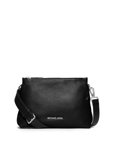 Jane Medium Leather Messenger Bag, Black