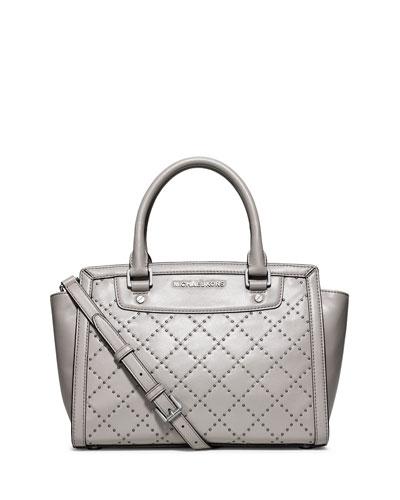 Selma Medium Quilted Micro Stud Satchel Bag, Pearl Gray