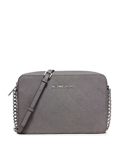 Jet Set Travel Large East-West Quilted Crossbody Bag, Steel Gray