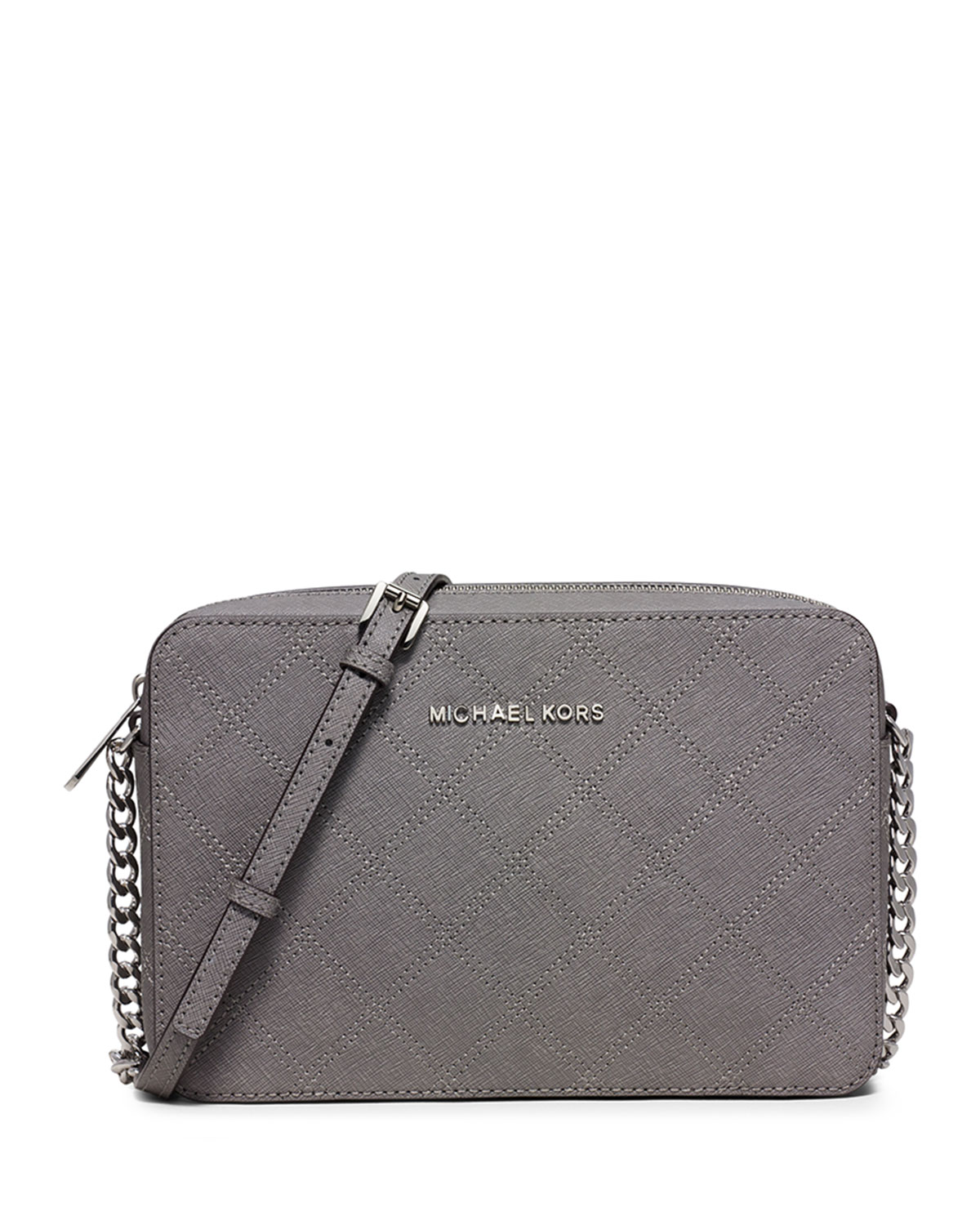 05f5ece96097a4 MICHAEL Michael Kors Jet Set Travel Large East-West Quilted Crossbody Bag,  Steel Gray
