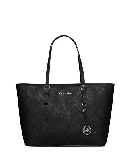 Jet Set Travel Zip-Top Quilted Saffiano Tote Bag, Black