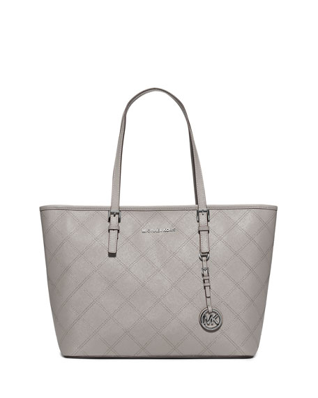 Jet Set Travel Zip-Top Quilted Saffiano Tote Bag, Pearl Gray