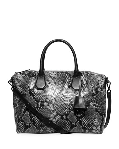 Campbell Large Python-Embossed Satchel Bag, Steel Gray