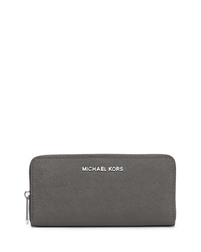 Jet Set Travel Continental Saffiano Wallet, Steel Gray