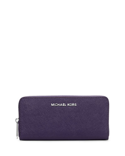 Jet Set Travel Continental Saffiano Wallet, Iris