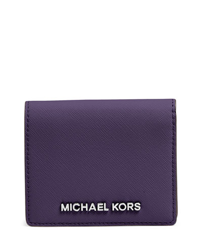Jet Set Travel Saffiano Card Holder, Iris