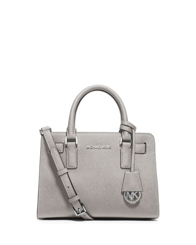 Dillon Small Saffiano Satchel Bag, Pearl Gray