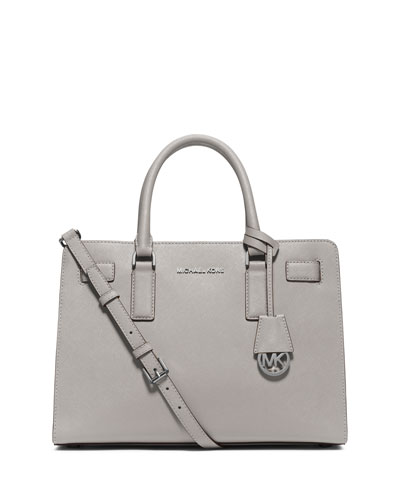 Dillon East-West Saffiano Satchel Bag, Pearl Gray