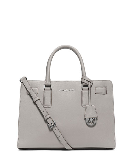 MICHAEL Michael Kors Dillon East-West Saffiano Satchel Bag, Pearl Gray