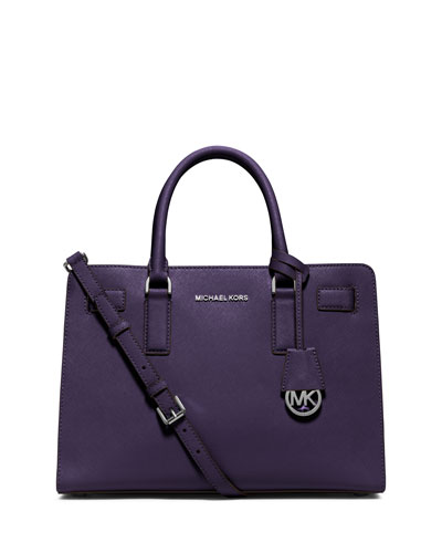 Dillon East-West Saffiano Satchel Bag, Iris
