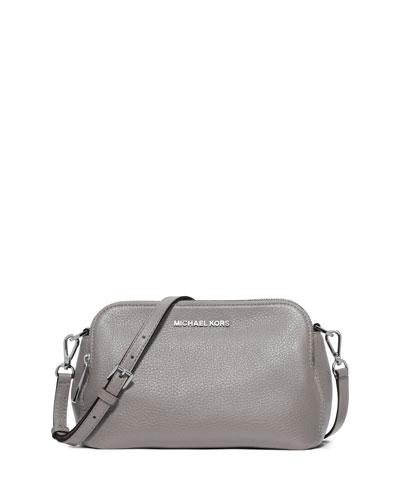 Bedford Medium Double-Zip Messenger Bag, Pearl Gray
