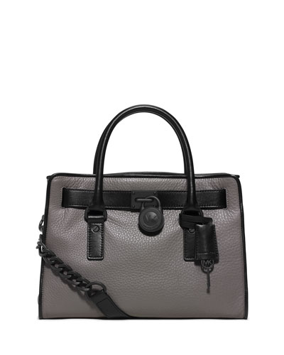 Hamilton French-Binding Satchel Bag, Steel Gray