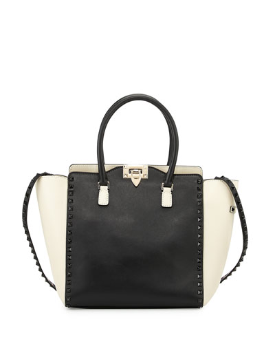 Small Double-Handle Pagoda Shopper Bag, Black/White