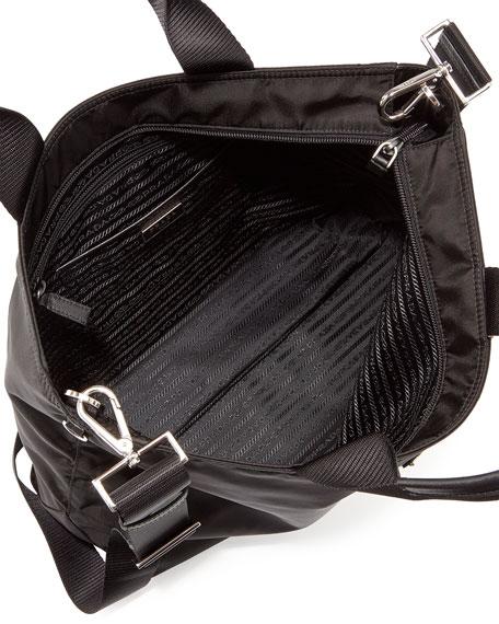 Medium Double-Handle Nylon Tote Bag, Black (Nero)