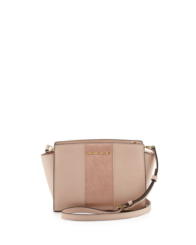 Selma Medium Metallic Center-Stripe Saffiano Messenger Bag, Ballet